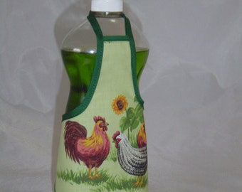 Rooster Hen Country Decor Dish Soap Apron Bottle Cover Wrap Staffer Party Favor Lg