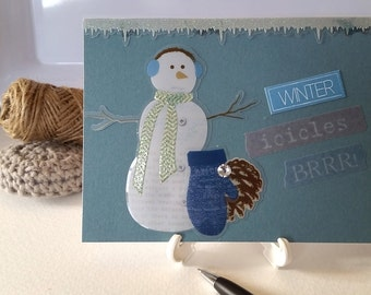 All Occasion Handmade Note Card / Snowman Winter / Thank You Birthday Just Because