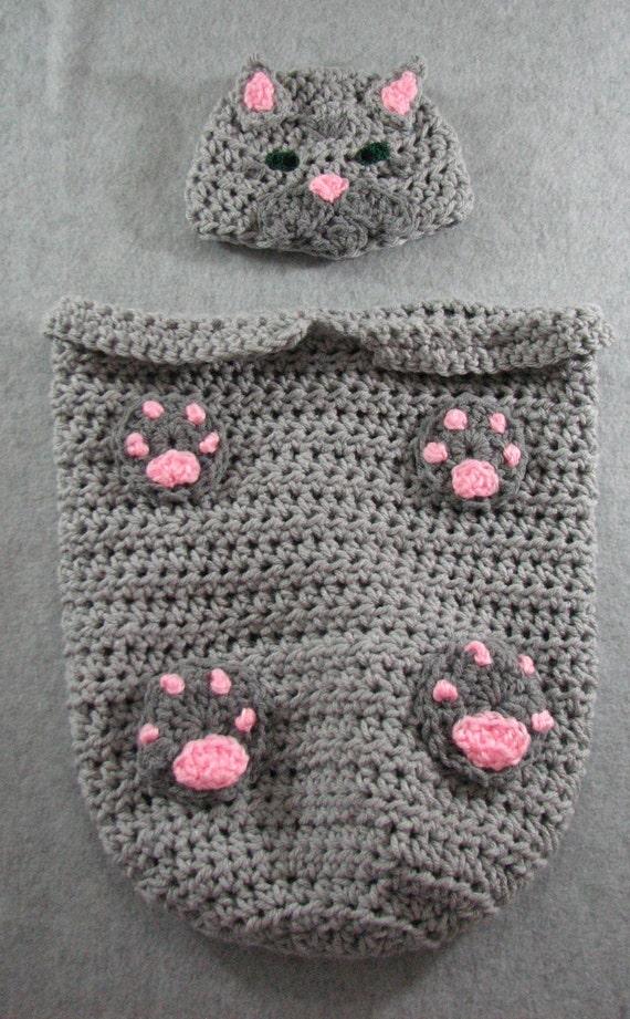 Crochet Cat Baby Cocoon Pattern : Crochet Pattern Tabby Cat Baby Cocoon Pattern Sleep Bag or