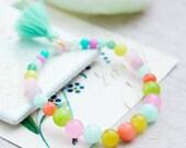 Gemstone Bracelet  beaded bracelet  tassel bracelet  Stretch Bracelet multi gemstone bracelet  multicolor gemstone bracelet  boho bracelets