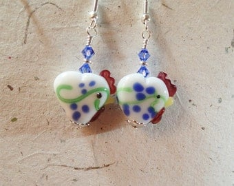 White and Sapphire Chicken Hens  Glass Bead Heart Earrings silver