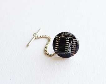 Circuit Board Tie Tack - Dark Brown Geeky Computer Jewelry - Gift for Boss - Wearable Technology