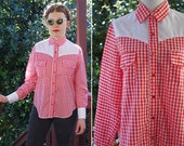 Reserved // RED Gingham 1960's 70's Vintage Red & White Western Cowboy Shirt // size Medium