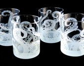 Embracing Tentacles Lowball Tumbler Glasses - Etched Glassware - Custom Made to Order