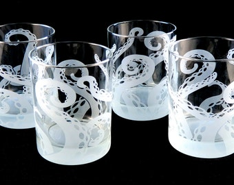 Embracing Tentacles Lowball Tumbler Glasses - Set of 4 - Etched Glassware - Ready to Ship