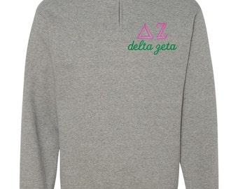 Delta Zeta Quarter Zip, Delta Zeta Pull Over, DZ quarter zip, Delta Zeta sweatshirt, sorority gift, sorority shirt, big little shirt