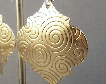 Moroccan Styled Reflection Spiral Brass Dangle Earrings