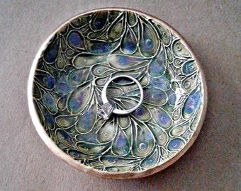 Ceramic Ring Bowl Trinket dish Peacock feathers Sage Green Gold edged