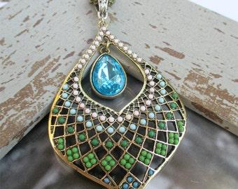Long Pendant Necklace, Medallion Necklace, Statement Necklace, Antique Brass Necklace, Beaded Pendant, Brass Pendant, Boho Jewelry, Peacock