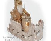 Vintage Style Spun Cotton Santa in Sleigh Victorian Inspired OOAK Christmas Folk Art Ornament Handmade