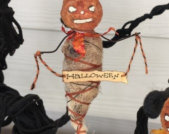 Spun Cotton Jack O Lantern OOAK Halloween Folk Art Pumpkin Ghost Ornament