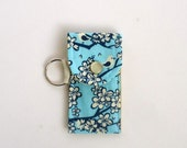 Lip Balm Keyring, Lip Balm Holder in Birds and Blossoms on Teal, Purse Accessory, Backpack Accessory