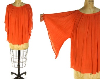 Indian Cotton Gauze Blouse / Vintage Butterfly Sleeve Hippie Peasant Blouse / Angel Sleeve Ethnic Bohemian Gypsy Top