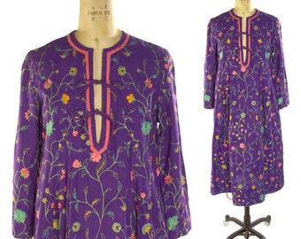 Treacy Lowe Embroidered Cotton Hippie Dress / Vintage 1970s Boho Indian Cotton Peasant Dress / Bohemian Ethnic Folk India Purple Dress