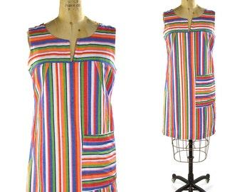 Rainbow Cotton Sundress / Vintage 1960s Mod Striped Shift Dress / Boho Sleeveless Knee Length Summer Dress / Cute Bohemian Shift Dress