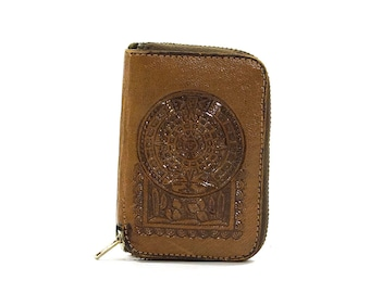 70s Tooled Leather Key Holder with One Old Chicago Key / Vintage 1970s Leather Wallet with Key Chain & Original ID Card / Mayan Calendar