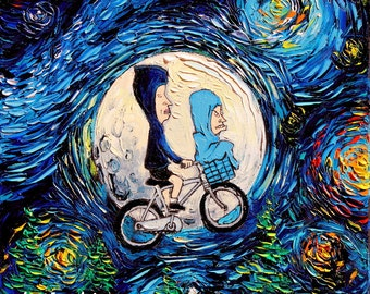 Beavis and Butthead ET Parody Painting - Oil on Canvas - Starry Night - Art by Aja - 12x12 inches van Gogh Never Met The Great Cornholio