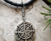 Compass Rose Wax Seal Charm Pendant, Fine Silver, Nautical Jewelry, Sea, Direction