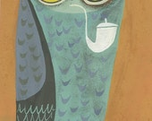 Osgood Owl. Original gouache painting by Matte Stephens.