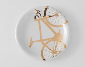 Gold Bicycle Dinner Plate - 22k gold screen printed porcelain tableware