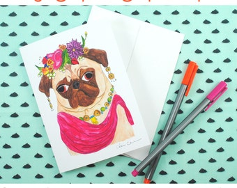 Blank Note Card Set, Funny Frida Kahlo Pug Greeting Card, Friendship Card, Just Becuase Card, Note Card Stationery, All Occasion Cards