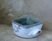 RESERVED - Casserole Baking Dish - Handmade Stoneware Ceramic Pottery - White and Desert Moss Green - Vines - 1-1/2 quart