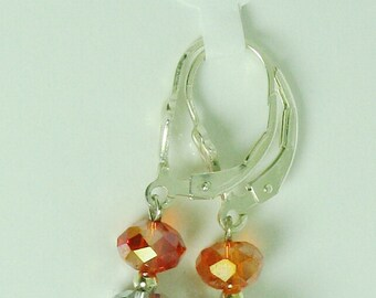 Hyacinth AB and Crystal Silver coated Swarovski Crystal and Sterling Silver Earrings - E529