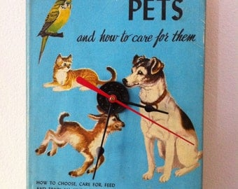 The Real Book About Pets Upcycled Book Clock