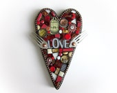 """Heart With Wings. (Mixed Media Mosaic Heart With Vintage Fork """"Wings"""" by Shawn DuBois)"""
