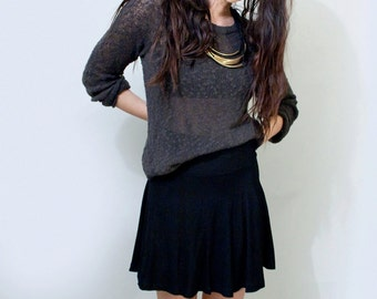 Skater Skirt • Short Jersey Mini Skirt • Tall Length • Black • Gray • Clothing (No. 9)