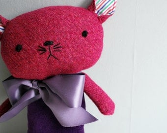 Cat Plushie in Purple Velveteen and Magenta Tweed