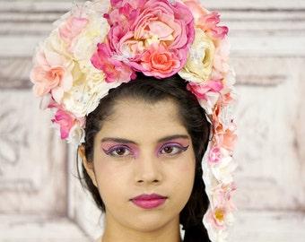 Pink Flower Headdress, Marie Antoinette, Costume Headpiece, Fantasy Flower Crown in Pink and White, Flower Crown