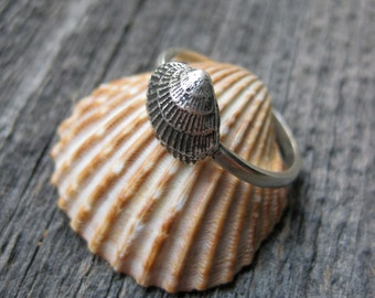 tiny fan CLAM SHELL seashell ring stacker sterling silver mermaid stacking ring Made to Order