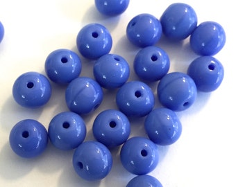 Vintage beads (24) periwinkle blue glass opaque rounds beads  Gorgeous color way 8mm (24)
