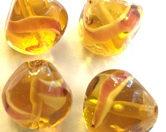 Vintage beads (2) west German  honey art glass handmade lampwork Amber Rose swirl lump baroque west German 13mm (2)