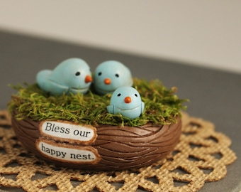 Rustic Bird Nest- Bluebird Family- Bless Our Nest- Primitive