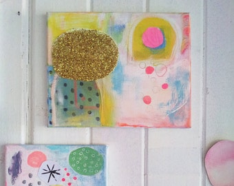 Abstract Geometric Original Canvas Painting Collage contemporaryy Art Collage Mixed Media Neon Pink Glitter Modern Fun Happy Art Painting