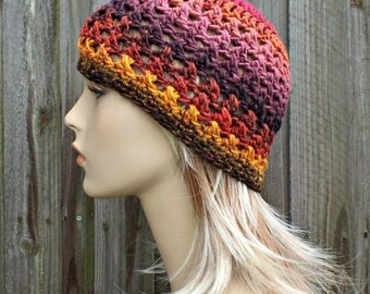 Multi Color Crochet Hat Womens Hat - Criss Cross Beanie in Medusa Red Yellow Pink Crochet Hat - Pink Beanie Red Beanie - READY TO SHIP