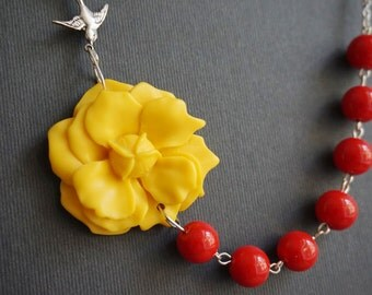 Nautical Jewelry,Statement Necklace,Yellow Flower Necklace,Red Necklace,Bridesmaid Gift,Yellow Necklace,Bridesmaid Jewelry Set,Gift For Her