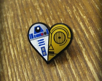 R2-D2 & C-3PO Heart Brooch Pin