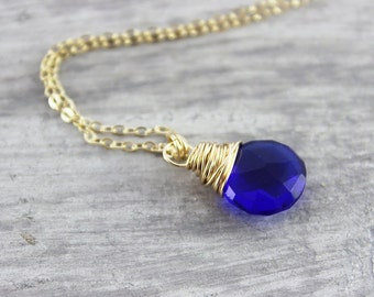 Royal Blue Necklace, Gold Filled Necklace, Simple Pendant Necklace, Bright Blue Necklace, Quartz Gemstone Necklace, Wire Wrap Necklace