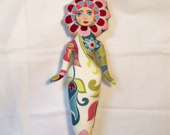 Large Flower Power Fantasy cloth art doll form w/face cab 12 1/2 in. tall You finish her Bead Decorate
