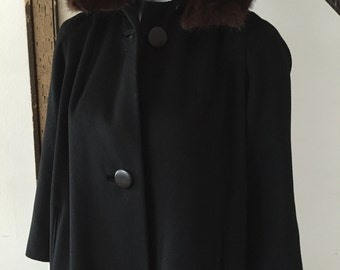 Classic Black Wool Coat with Mink Fur Collar