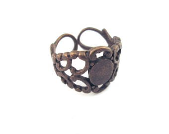 Brass filigree rings, with a 6x8mm glue on pad, pick your amount, A175