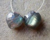 AAA Fabulous Labradorite Faceted Betel Spade Briolettes  11x12mm - Matched Pair