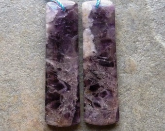 Dogstooth Amethyst Smooth Bead Pair - 12x44mm - Matched Pair