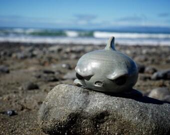 hand thrown, ceramic Seriously upset shark