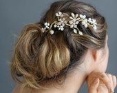 Bridal floral headpiece - Rhinestone wavy frosted flower headpiece - Style 658 - Made to Order