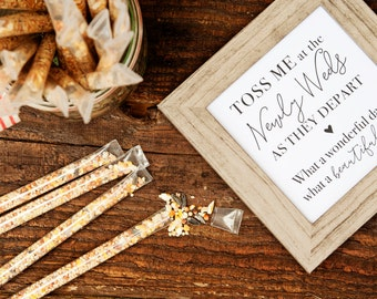 Wedding Exit Toss - Bird Seed Wands  - Sprinkle the Love Birds - Bird Seed Toss - 25 finished tubes per pack