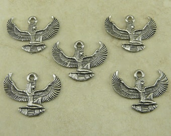 5 Egyptian Isis Goddess with Wings Charms > Egypt Goddess Sun God - Raw American made Lead Free Pewter Silver - I ship internationally